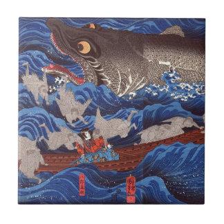 怪物鮫、国芳モンスターの鮫、Kuniyoshi、Ukiyo-e タイル