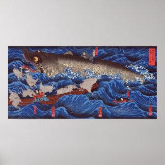 怪物鮫、国芳モンスターの鮫、Kuniyoshi、Ukiyo-e ポスター