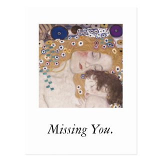 恋しく思っている母および子供 ポストカード