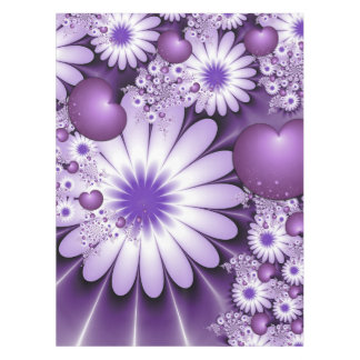 恋に落ちる抽象的な花及びハートのフラクタル テーブルクロス