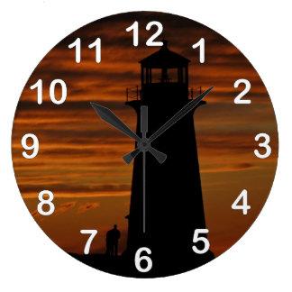 恋人のシルエット、ペギーの入江、ノバスコシア ラージ壁時計
