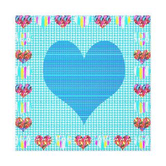 恋人の青い菓子+ハートの抽象美術のギフト キャンバスプリント