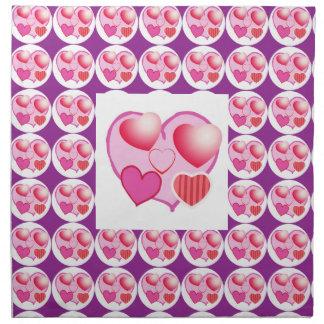 恋人パターン: ピンクのテーマ ナプキンクロス