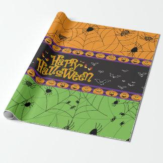 恐いオレンジ緑のハロウィンの蜘蛛の巣 ラッピングペーパー