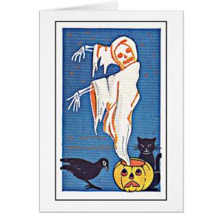 恐い幽霊のヴィンテージハロウィン グリーティングカード
