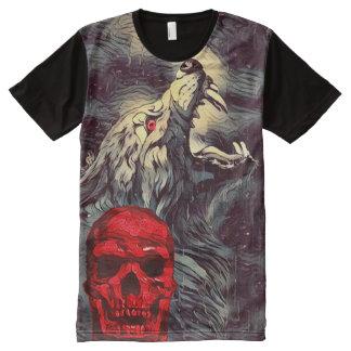 恐い狼人間のスカルの喚き声の暗い恐怖芸術 オールオーバープリントT シャツ
