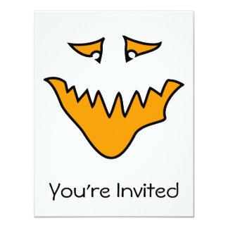 恐い顔。 オレンジのモンスターのにやにや笑い カード