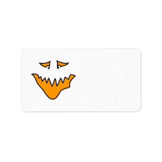 恐い顔。 オレンジモンスターのにやにや笑い ラベル