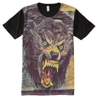 恐く野蛮な狼人間の暗い恐怖芸術 オールオーバープリントT シャツ