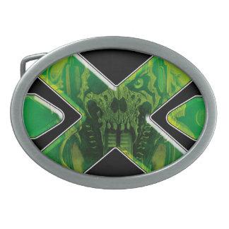 恐れの死Xperience: - FDX-のスカルのバックル 卵形バックル