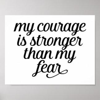 恐れ無し、勇気、幸福、成功、夢の引用文 ポスター
