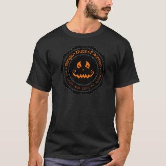 恐怖カボチャ黒のTシャツのショウガのナット Tシャツ