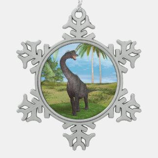 恐竜のブラキオサウルス スノーフレークピューターオーナメント