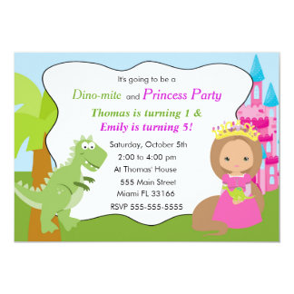 恐竜のプリンセスの招待状の子供の誕生日のパーティー2 カード