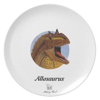 恐竜のプレートのアロサウルスのポートレートグレゴリーポール プレート