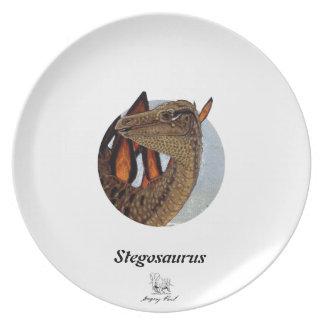 恐竜のプレートのステゴサウルスのポートレートグレゴリーポール プレート