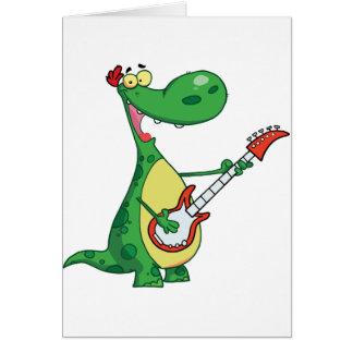 恐竜のメッセージカードを遊ぶギター カード
