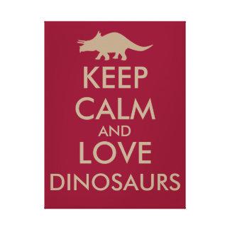 恐竜の恋人のギフトは穏やかなトリケラトプスをカスタム飼います キャンバスプリント