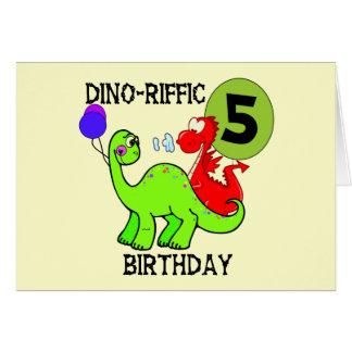 恐竜の第5誕生日のTシャツおよびギフト カード