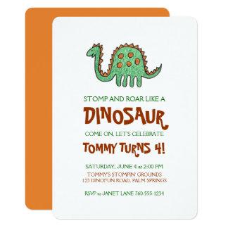 恐竜の落書き、男の子の誕生会 12.7 X 17.8 インビテーションカード