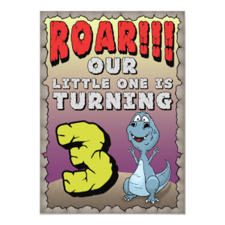 恐竜の誕生日の招待状の3歳児 カード