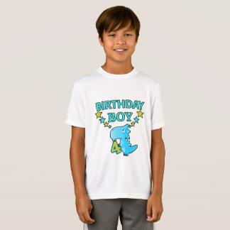 恐竜の誕生日の男の子4の向くTシャツ Tシャツ