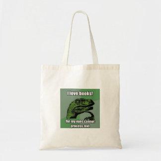 恐竜の読書の本 トートバッグ