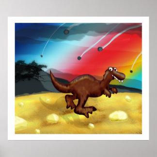 恐竜の連続したイラストレーション ポスター