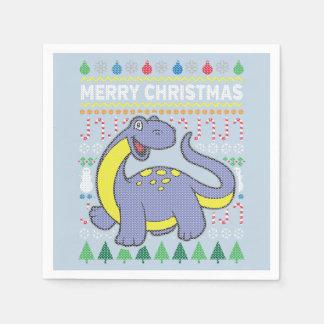 恐竜の野性生物のメリークリスマスの醜いセーター スタンダードカクテルナプキン