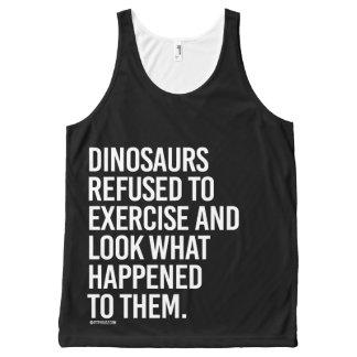 恐竜は運動し、何が起こるか見ることを断りました オールオーバープリントタンクトップ