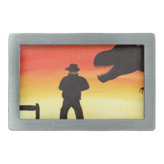 恐竜牧場の日没 長方形ベルトバックル