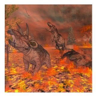 恐竜、ティラノサウルス・レックスおよびトリケラトプスのexctinct アクリルウォールアート