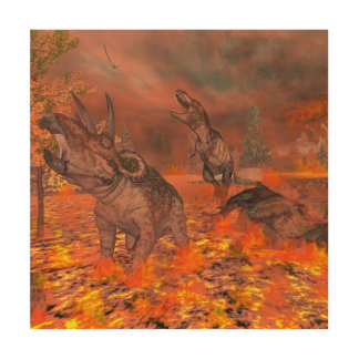 恐竜、ティラノサウルス・レックスおよびトリケラトプスのexctinct ウッドウォールアート