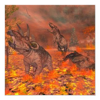 恐竜、ティラノサウルス・レックスおよびトリケラトプスのexctinct カード