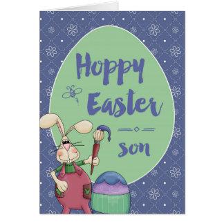 息子に、ホップの豊富なイースターのウサギの芸術家の絵画の卵 カード