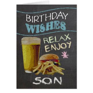 息子のビールハンバーガーとの粋な黒板の効果、 カード