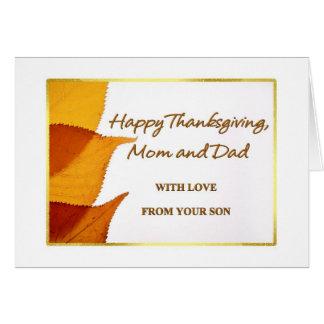 息子カードからの幸せな感謝祭のお母さんそしてパパ カード