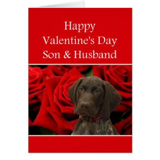 息子及び夫の光沢のあるハイイログマのバレンタインの初恋 カード