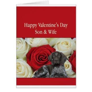 息子及び妻の光沢のあるハイイログマのバレンタインの初恋 カード