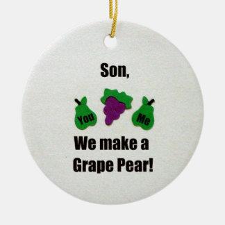 息子、私達はブドウナシを作ります! セラミックオーナメント