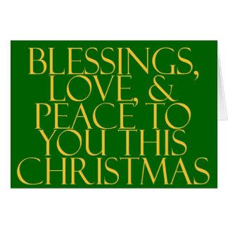 恵み、愛及び平和緑 カード