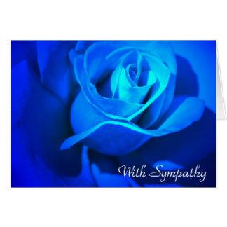 悔やみや弔慰の青のバラを使って カード