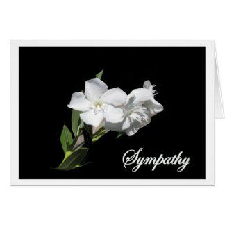 悔やみや弔慰-黒の白いオレアンダーの花 カード