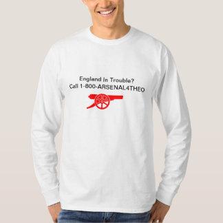 悩みのイギリスか。 呼出し1-800-ARSENAL4THEO Tシャツ