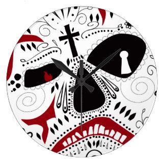 悪いケーキによる死んだ時計のメキシコ日 ラージ壁時計