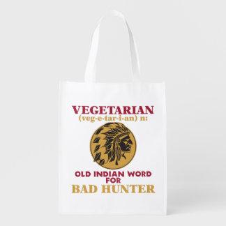 悪いハンターのための菜食主義の古いインドの単語 エコバッグ
