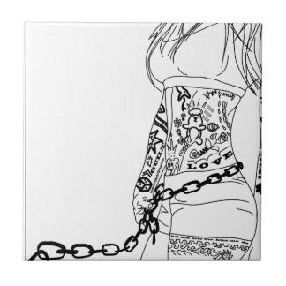 悪い女の子に鎖でつながれる タイル