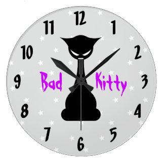 悪い子猫の柱時計 ラージ壁時計