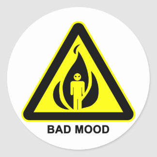 悪い気分の警告標識のステッカー ラウンドシール