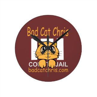 悪い猫のクリスの柱時計 ラウンド壁時計